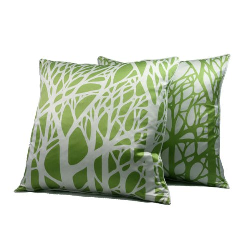 Daphne Branches Silk Throw Pillow - Tarragon Green