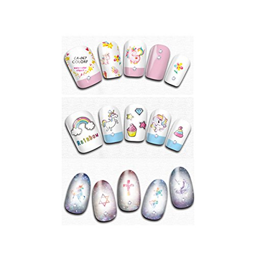 Wrapables 3 Sheets Dreamy Unicorns Nail Stickers Nail Art