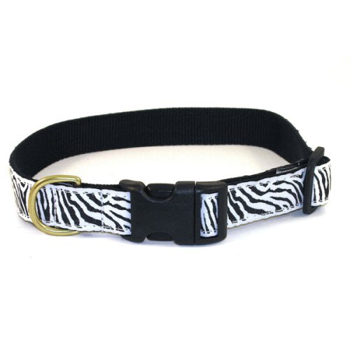 "Zebra Print Dog Collar - Large (15-21""L x 1""W)"