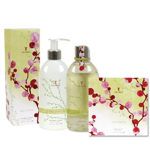 Thymes Red Cherie Gift Set - Body Lotion, Body Wash & Bath Salt Envelope