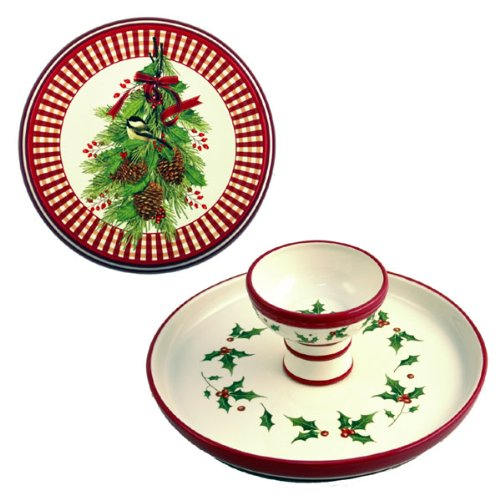 Reversible Cake Plate / Chip & Dip - Christmas Mistletoe