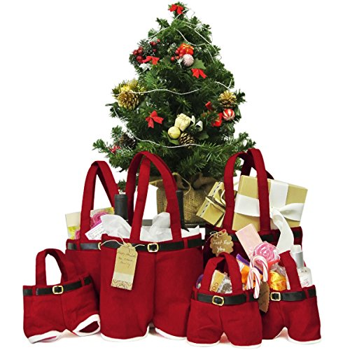 2pcs Large Christmas Santa Pants Gift and Wine Tote Bags + Pack of 20 Scalloped Gift Tags