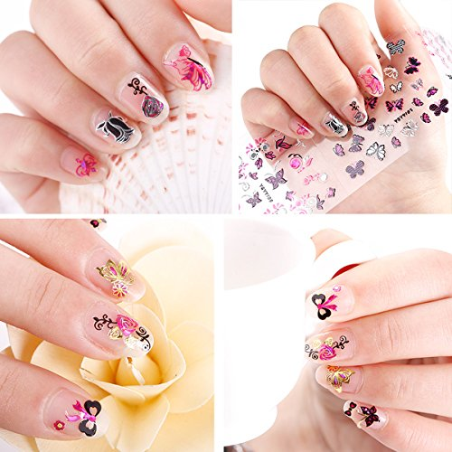 Wrapables 24 Sheets Butterfly with Gold & Silver Trim Nail Stickers Nail Art Set