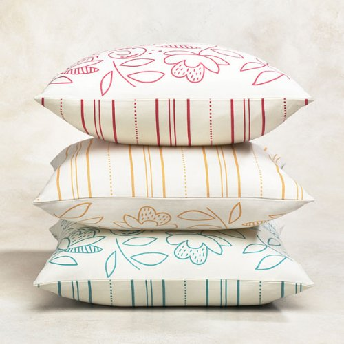 Flower & Stripe Cushion Covers - Yellow (pair of 2)