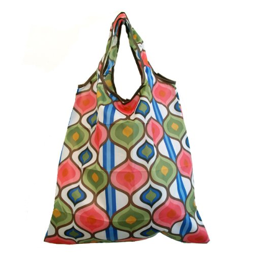 Printed Reusable Shopping Tote Bag - Flowers