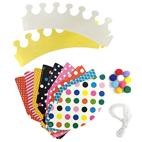 Wrapables Party Hats with Pom Poms and Crowns for Birthday Parties and Holidays
