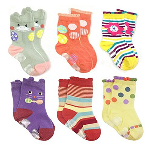 Wrapables Peek A Boo Animal Non-Skid Toddler Socks (Set of 6)