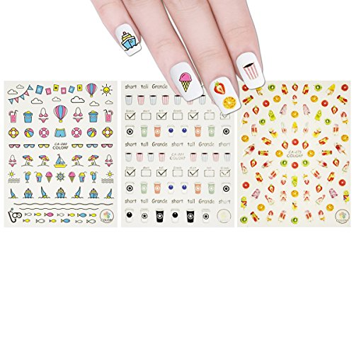 Wrapables 3 Sheets Break Time Nail Stickers Nail Art