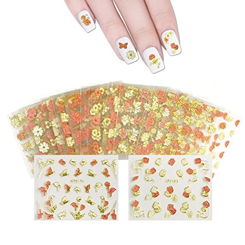 Wrapables 50 SHEETS Flowers, Hearts & Lace Nail Art Nail Stickers (Pink & White)