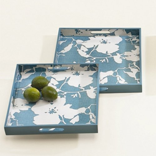 Grayce Floral Wooden Serving Trays (set of 2) - Blue/White