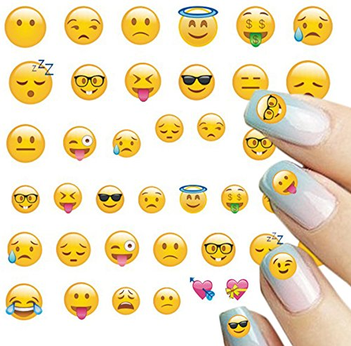 Wrapables 250+ Emoji Water Transfer Nail Decals 3D Nail Art Nail Decals (8 sheets)
