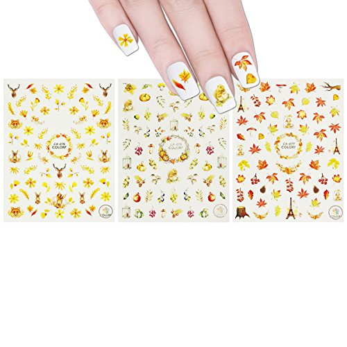 Wrapables 3 Sheets Fall Leaves Nails Thanksgiving Nail Stickers Nail Art
