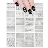 Wrapables Holographic Nail Stickers Metallic Letters, Numbers & Patterns Nail Stickers Nail Art (24 sheets)