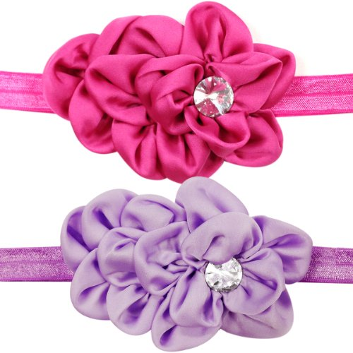 Kella Milla Set of 8 Bunched Satin Floral Baby Headbands