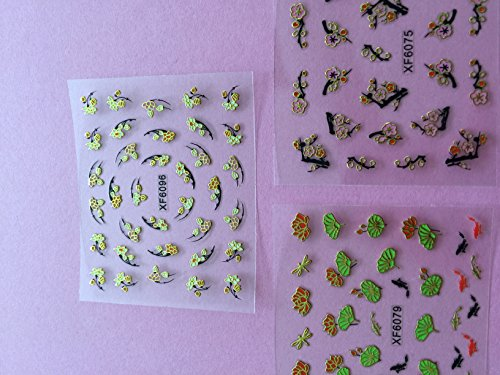 Wrapables Fingernail Stickers Nail Art Nail Stickers Self-Adhesive Nail Stickers 3D Nail Decals - Asian Inspired Lotus, Ginkgo Leaves, Cherry Blossoms & Koi (3 designs/6 sheets)