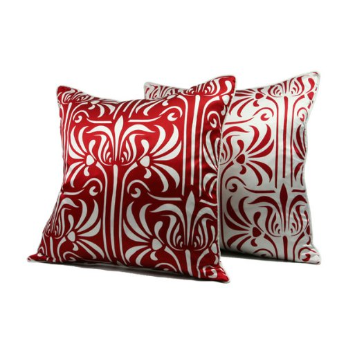 Florence Damask Silk Throw Pillow - Amerian Red