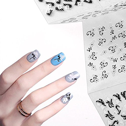 Wrapables 24 Sheets Black & White Flowers with Rhinestones Nail Stickers Set Nail Art