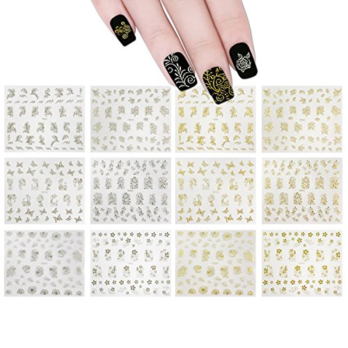 Wrapables Gold & Silver Foil Vines & Floral Nail Stickers