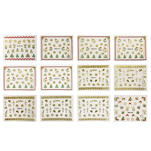 Wrapables 1200+ Festive Holiday Nail Stickers Christmas Nail Art Stickers (50 sheets)