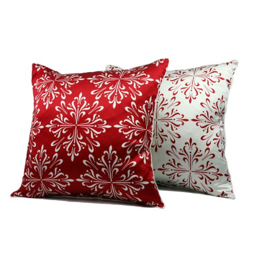 Iris Floral Silk Throw Pillow - American Red