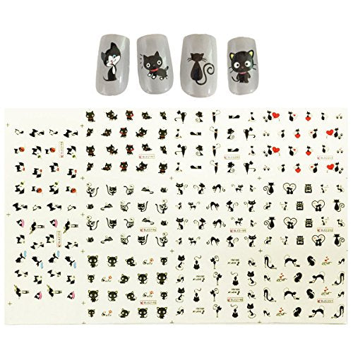 Wrapables Cat Nail Art Cat Water Nail Tattoos Cat Water Transfer Slide Tattoos Nail Decals, Cats (11 Designs/220 Nail Tattoos)