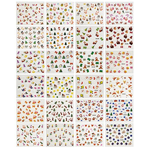 Wrapables 24 Sheets Falala Christmas Nail Stickers Holiday Nails Set Nail Art Sheets