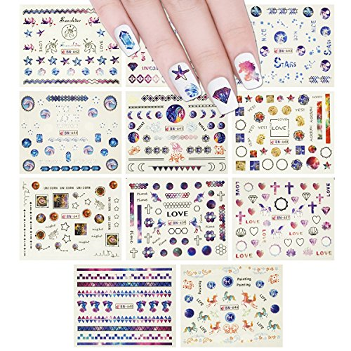 Wrapables 12 Sheets Starry Night Galaxy Water Slide Nail Art