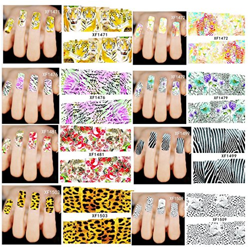 Wrapables 40 Sheets Into the Wild Animal Print Water Slide Nail Art Decals Water Transfer Nail Decal Sheets (40 sheet)