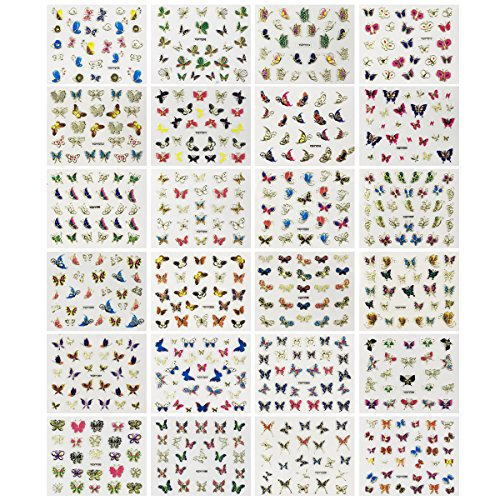 Wrapables 24 Sheets Multicolor Butterfly with Gold Trim Nail Stickers Nail Art Set (Multicolor Butterfly)