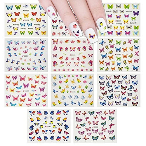 Wrapables Colorful Butterfly Nail Stickers 3D Butterfly Nail Art (330+ Nail Stickers/11 sheets)