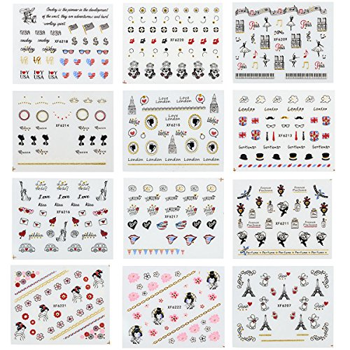 Wrapables 24 Sheets Globetrotter Nail Stickers Nail Art Paris Nail Stickers Patriotic Nails