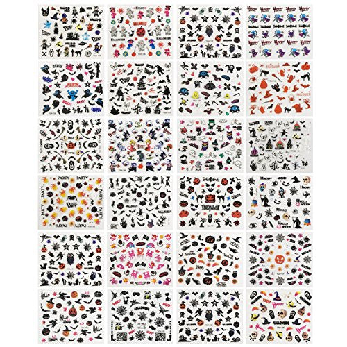 Wrapables Halloween Nail Stickers Nail Art Set Ghost Stickers Bat Nail Art (24 sheets)