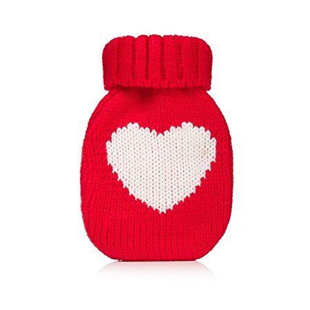 Mini Hottie Knitted Hand Warmer w/ Re-usable Hot Pack, Heart Red
