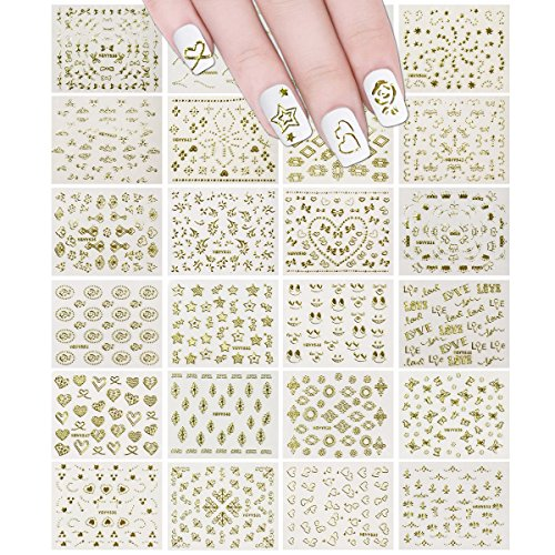 Wrapables 24 Sheets Gold Crowns, Gold Stars & Gold Vines Nail Stickers Set Nail Art