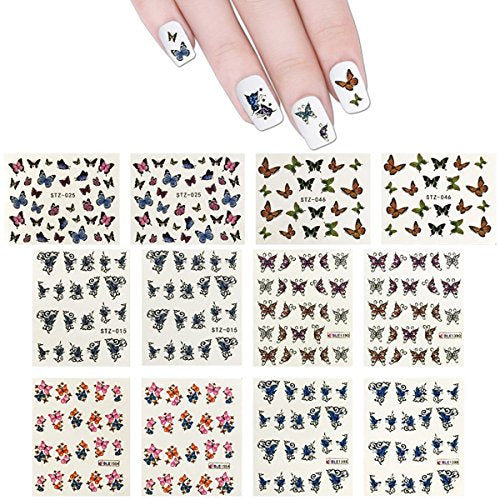 Wrapables 30 Sheets Butterflies Water Slide Nail Art Nail Decals Water Transfer Nail Decal