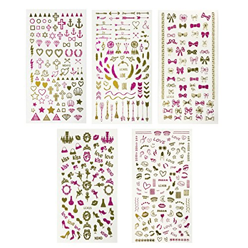 Wrapables 450+ Nail Stickers Pink & Gold Foil Nail Stickers Nail Art, 5 sheets - Love