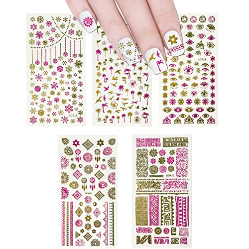 Wrapables 450+ Nail Stickers Pink & Gold Foil Nail Stickers Nail Art Henna Nail Stickers, 5 sheets - Prints