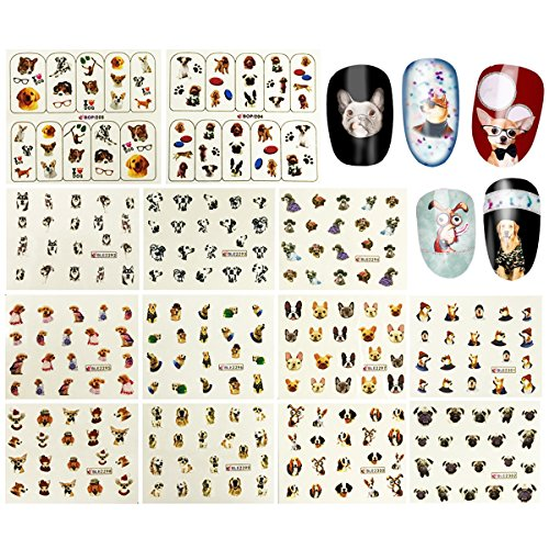 Wrapables 288 Dog Water Slide Nail Art Nail Decals Dog Water Transfer Nail Decals (13 sheets)