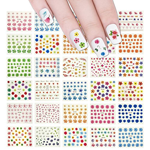 Wrapables 50 sheets Flowers Nail Stickers Nail Art Multicolor Flower Nail Decals