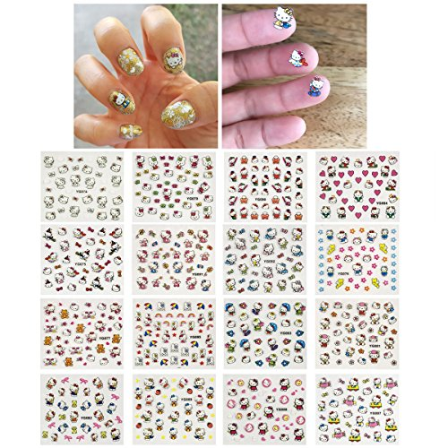 Wrapables 24 Sheets Kitty Cat Nail Stickers Set Cat Nail Art Nail Decals (700+ nail stickers)