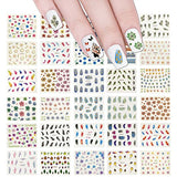 Wrapables 50 Sheets Feathers & Flowers Nail Stickers Nail Art