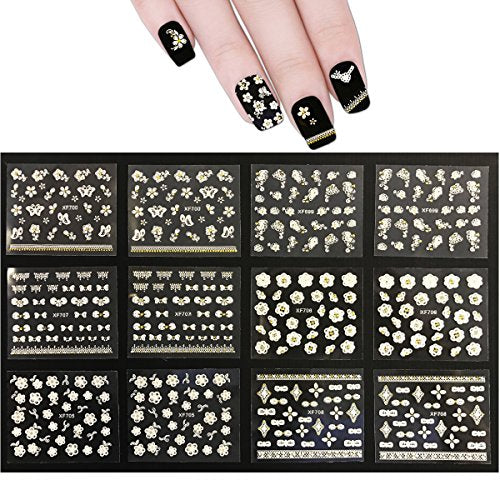 Wrapables 50 Sheets White Flowers & Bows with Gold Rhinestone Nail Stickers Nail Art 3D Nail Decals