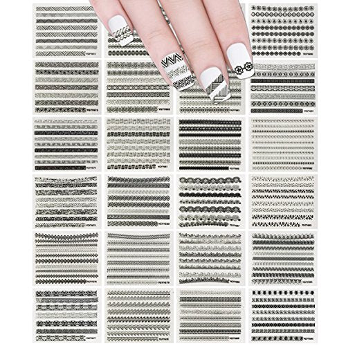 Wrapables 24 Sheets Gold, Silver & Black Nail Strips Nail Stickers Nail Art Set (Silver & Black Nail Strips)