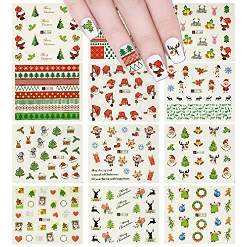Wrapables 250+ Christmas Water Slide Nail Decals Large Christmas Water Slide Nail Art Nail Decal Sheets (12 sheets)