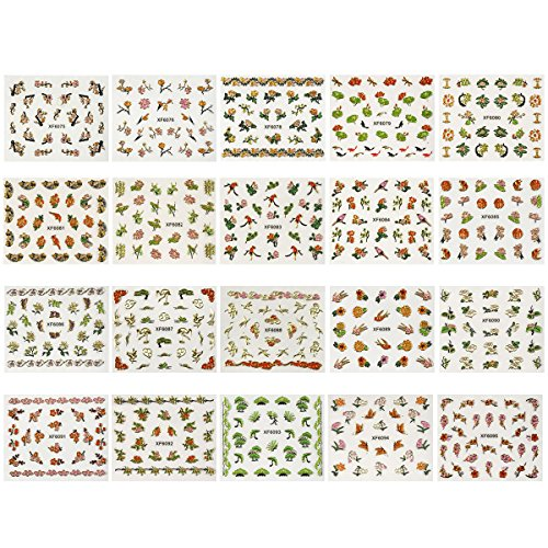Wrapables 50 Sheets Cherry Blossoms Asian Inspired Nail Sticker Set Foil Nail Stickers Nail Art (1200+ nail stickers)