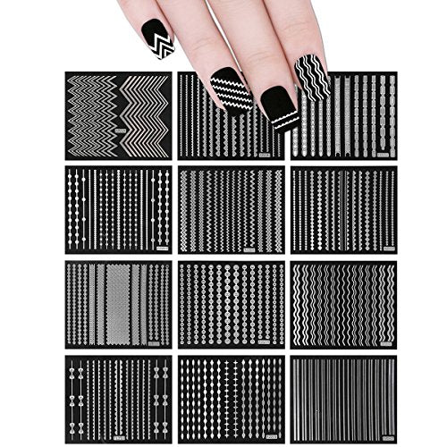 Wrapables 12 Sheets Holographic Nail Stickers