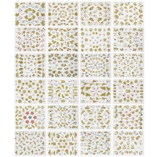 Wrapables 24 Sheets Glitter Nail Stickers Glitter Henna, Mandala Nail Stickers Nail Art