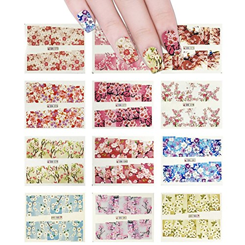 Wrapables 12 Sheets Blossoms Flower Water Slide Nail Art