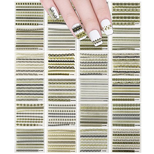 Wrapables 24 Sheets Gold, Silver & Black Nail Strips Nail Stickers Nail Art Set (Gold & Black Nail Strips)