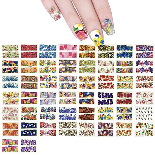 Wrapables Flowers Water Slide Nail Art Decals Water Transfer Nail Decal Sheets (50 sheets)